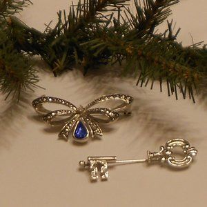 Avon Vintage Birthstone Bow & Key Brooches